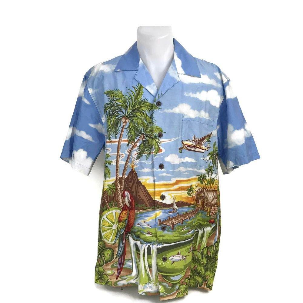 2535e129 Jimmy Buffet Margaritaville Parrots Men's Aloha Hawaiian Shirt Made In USA  Sz M #JimmyBuffetMargaritaville #Hawaiian