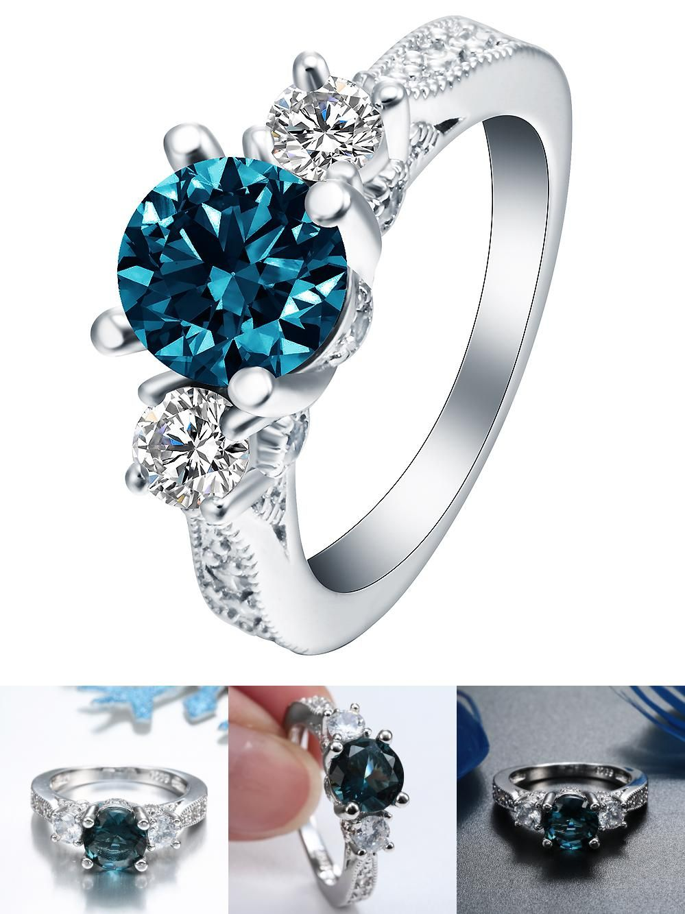 Visit To Buy Silver Plated Blue Stone Engagement Wedding Rings For Women Vintage Ring: Wedding Ring Art Deco Adver At Reisefeber.org