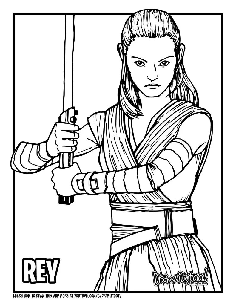 How To Draw Rey Star Wars Drawing Tutorial Draw It Too In 2021 Star Wars Drawings Rey Star Wars Drawing Tutorial
