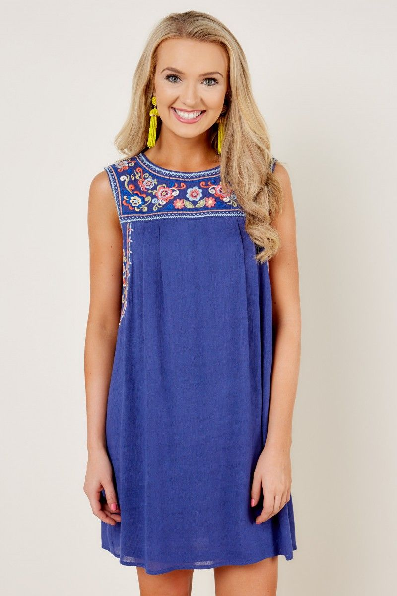 New Threads Blue Embroidered Dress at reddressboutique.com | My ...