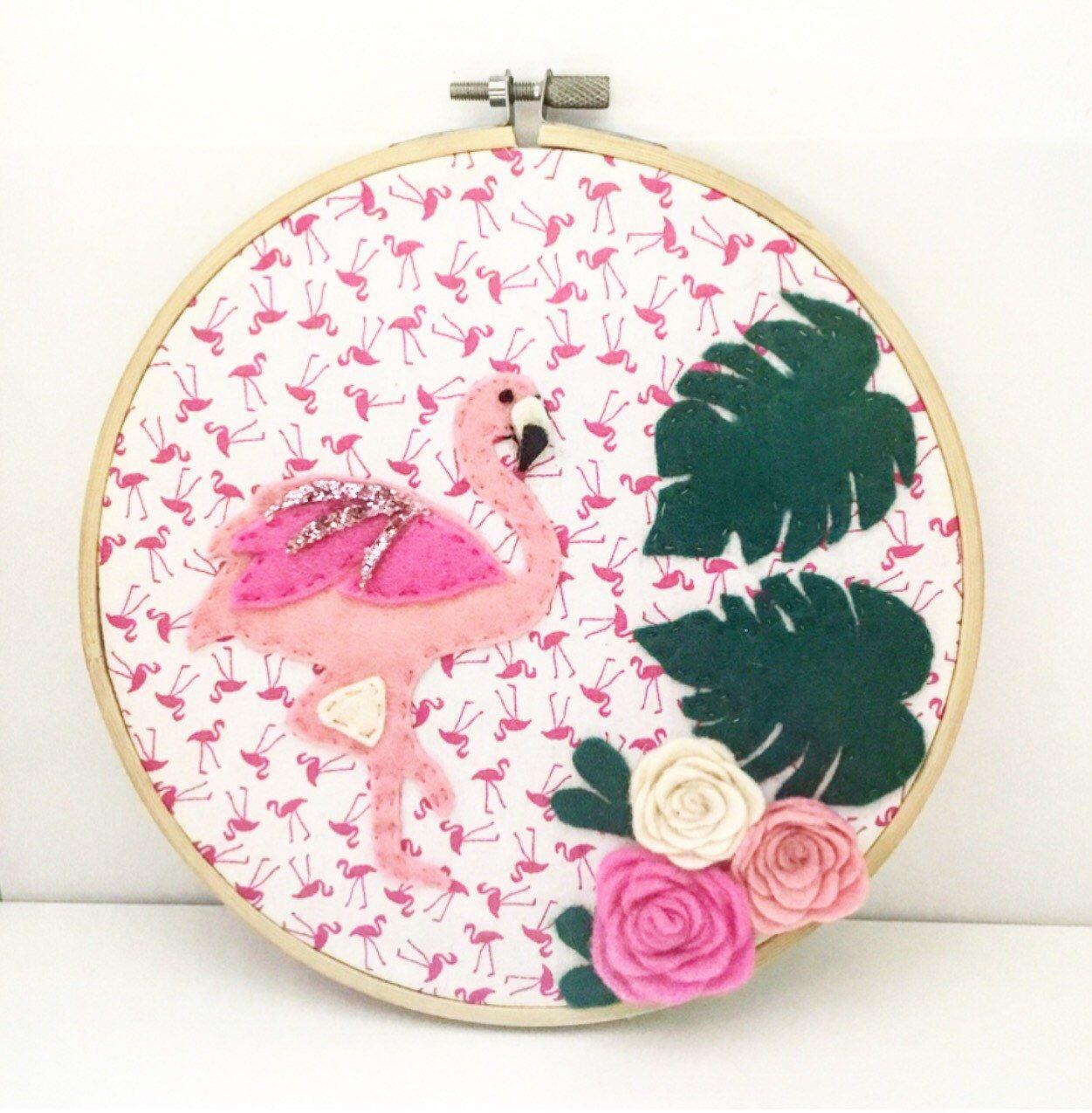 Flamingo embroidery hoop wall hanging hoop