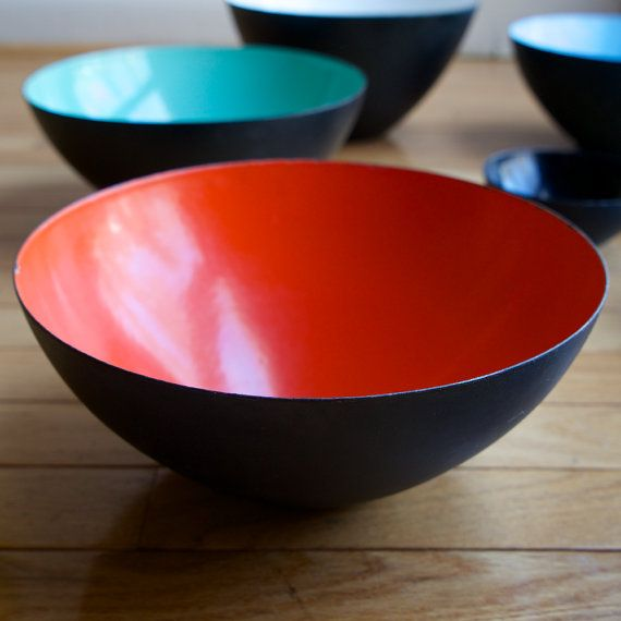 "10"" Blood Orange Krenit Enamel Bowl Denmark Mid-Century Danish Zinober Torben Ørskov Orskov"