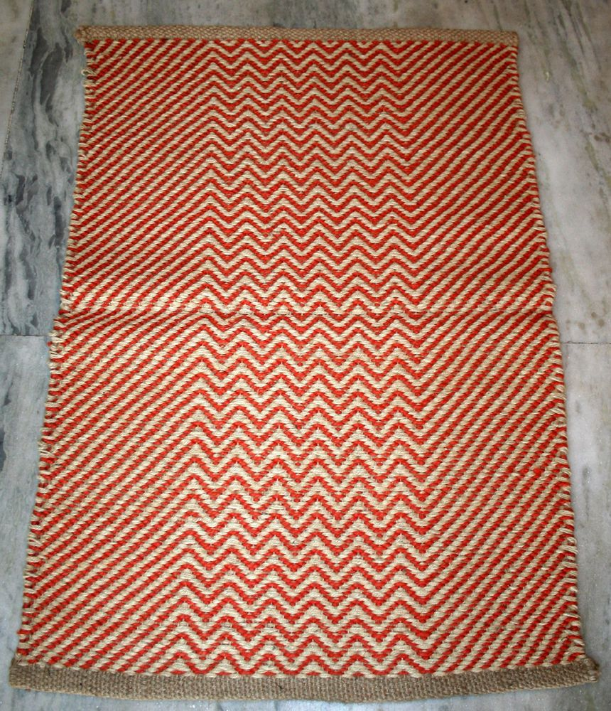 Rag Throw Jute Rug ZIG-ZAG Pattern Floor Runner Carpet Bath Room Door Mat #Unbranded #Traditional