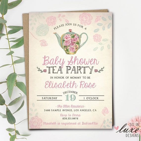 Tea party baby shower invitation watercolor vintage tea party tea party baby shower invitation watercolor vintage tea party wonderland fairy filmwisefo