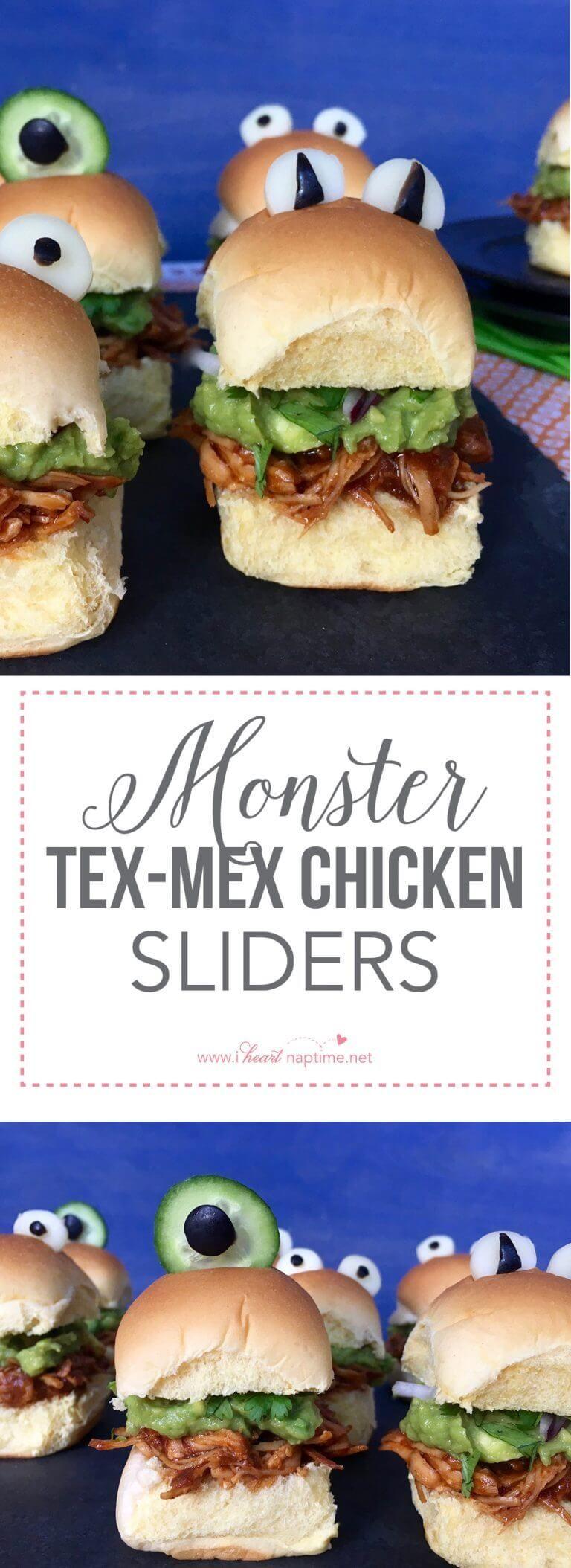 Monster Tex-Mex Chicken Sliders #halloweenpotluckideas