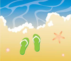 Wave beach. Sandals clip art clipart