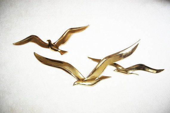 Vintage 70s Abstract Syroco Birds In Flight Wall Décor Eames Etsy Metal Bird Wall Art Flying Birds Wall Art Bird Wall Art