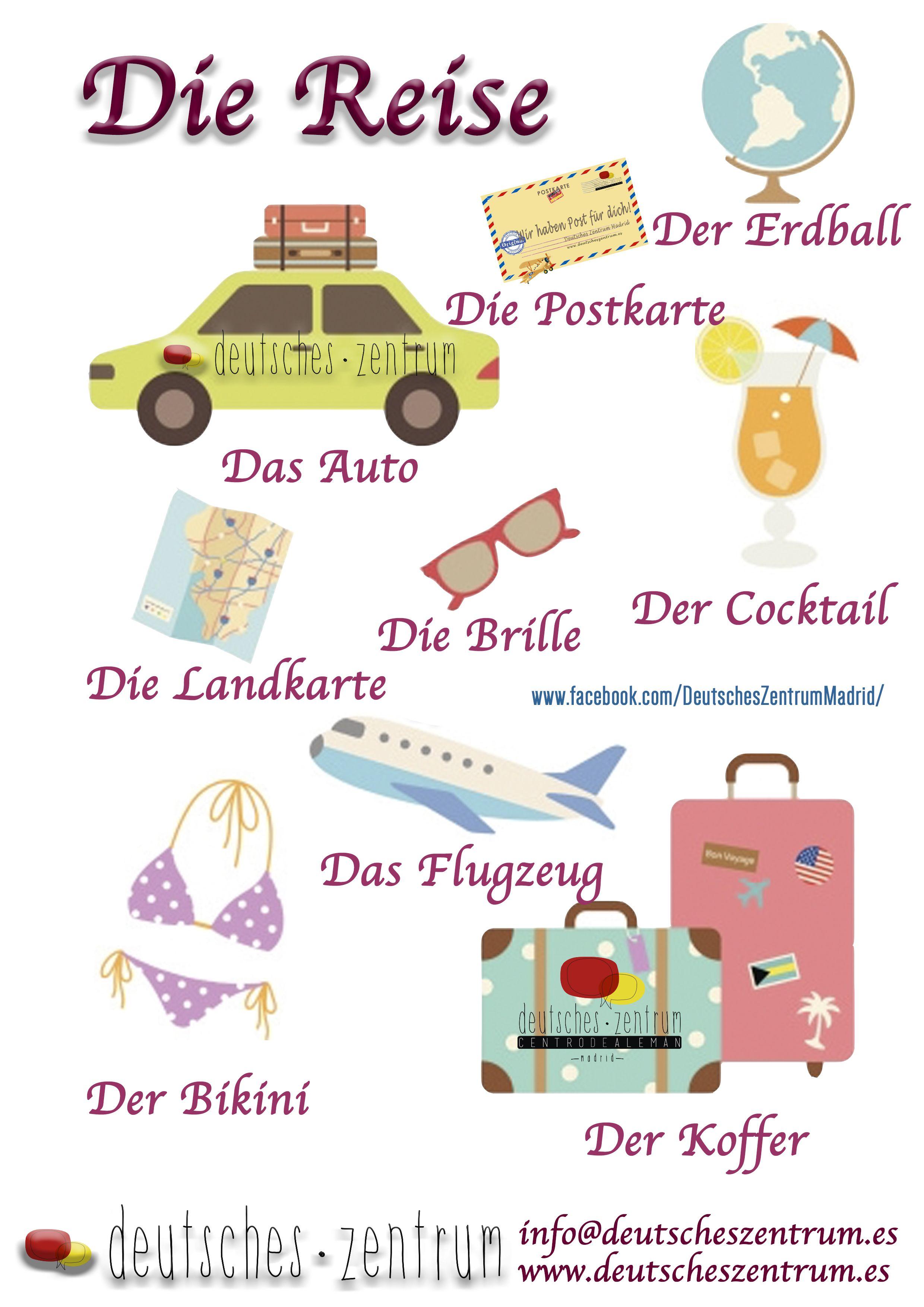 Reise Deutsch Wortschatz Grammatik Alemán German DAF Vocabulario ...