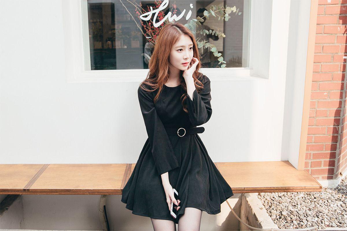 Belted Skater Dress CHLO.D.MANON | #black #dress #koreanfashion #sweet #falltrend #kstyle #seoul