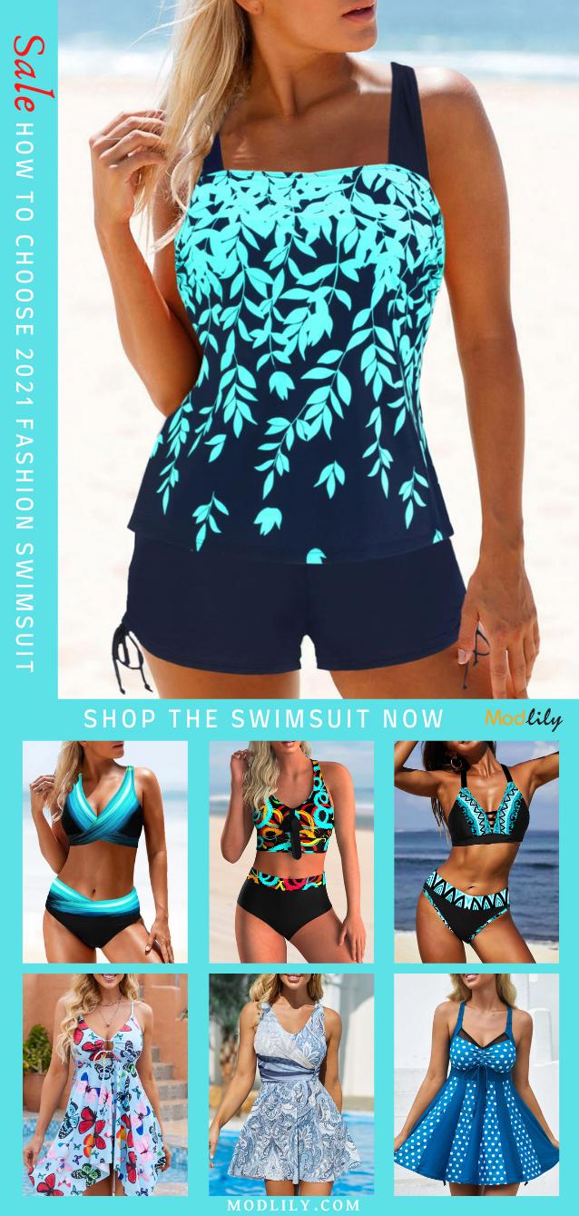 2021 Swimsuit Trends High Waist Printed Cute Blue Green