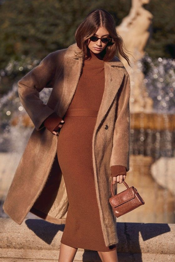 Ad Right Beside Me Brown Turtleneck Midi Sweater Dress  Lulus  Need to look put togehter in a pinch The Lulus Right Beside Me Brown Turtle Neck Midi Sweater Dress has got...