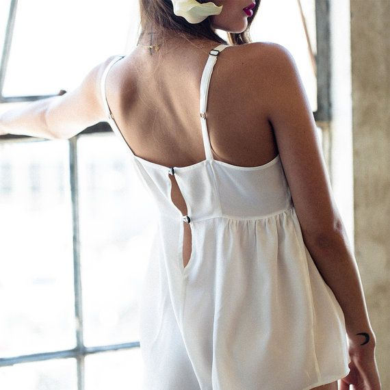 7d9671910893 ON SALE Silk Romper One Piece Teddy Lingerie Lounge   Bride White Black Silk  Lace Sheer Bow   NIGHT