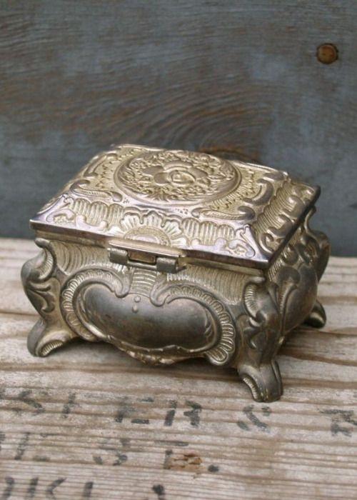 Vintage Small White Metal Jewellery Box  Trinket Box