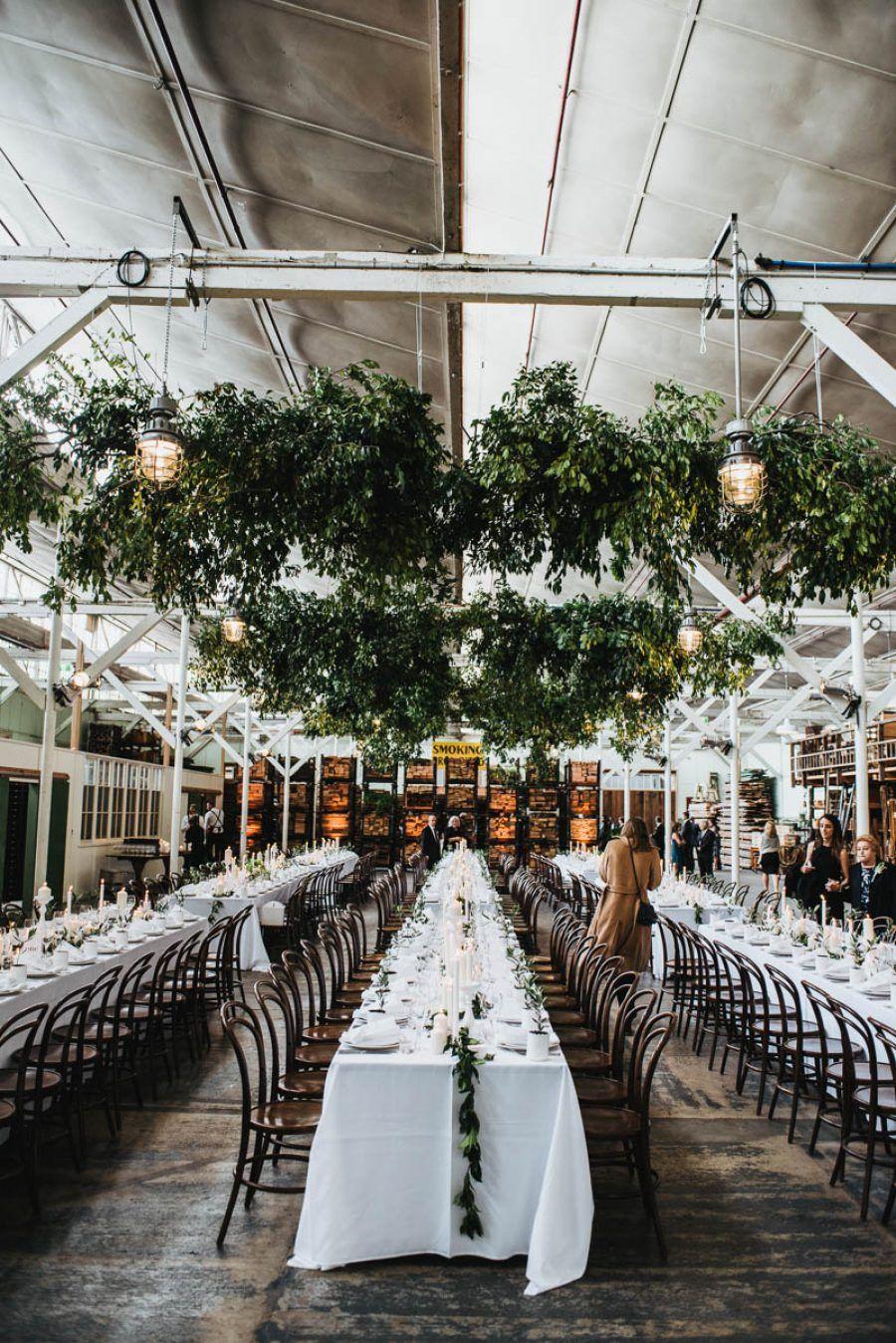 Modern Warehouse Wedding With Hanging Greenery Creative