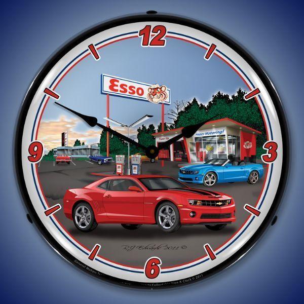 Camaro Esso Station Led Lighted Wall Clock 14 X 14 Inches Wall Clock Light Camaro Clock