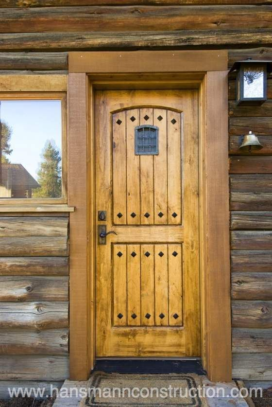 Log Cabin Exterior Doors | Rustic door on log cabin restoration ...