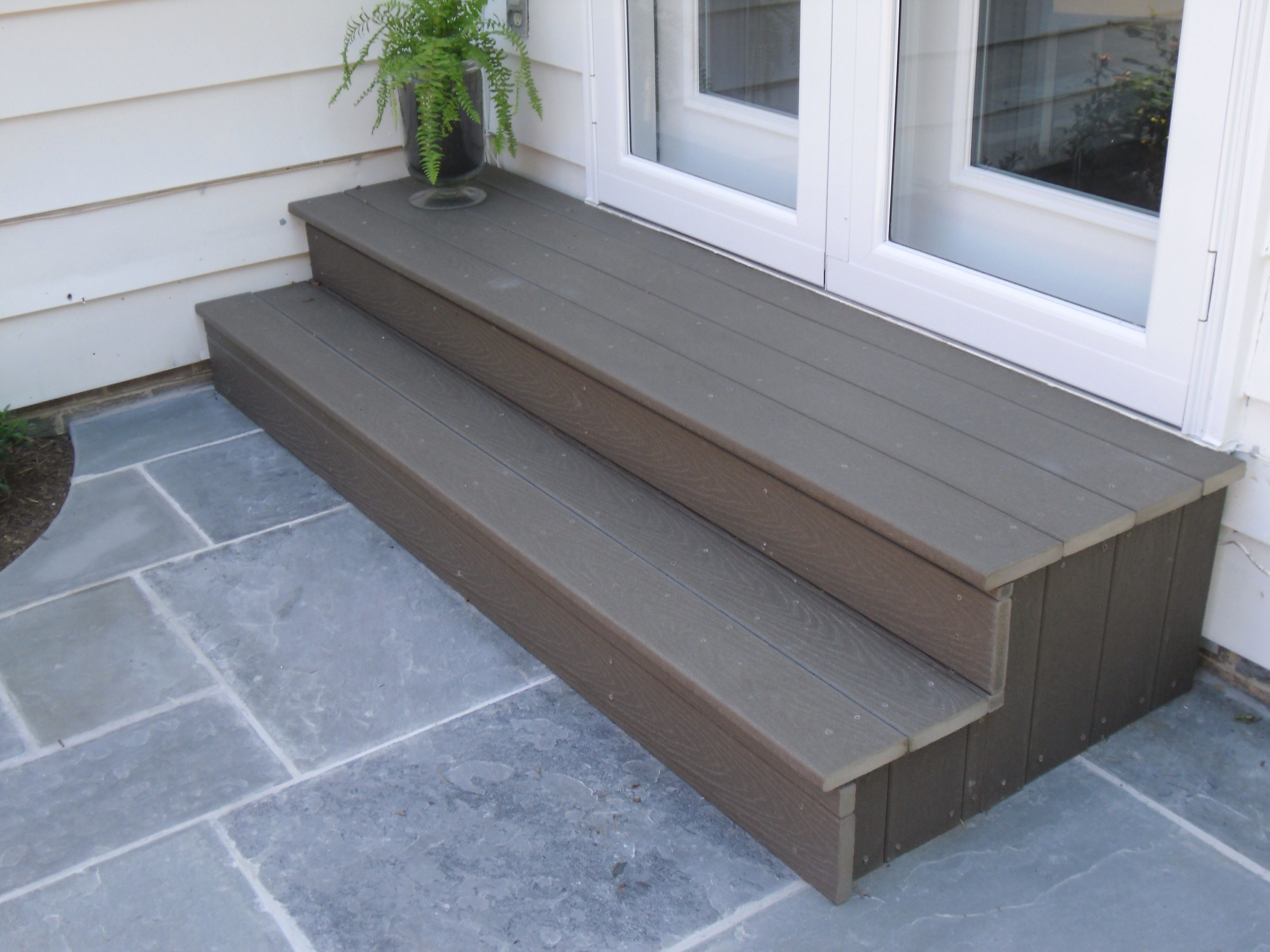 Steps at back door we did this dream yard pinterest doors outdoor steps like this are a great do it yourself accessory to any backyard patio eventelaan Images