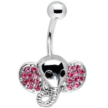 316L Surgical Steel Belly Button Rings Handmade Golden Elephant Belly Ring belly piercings body jewelry navel piercings
