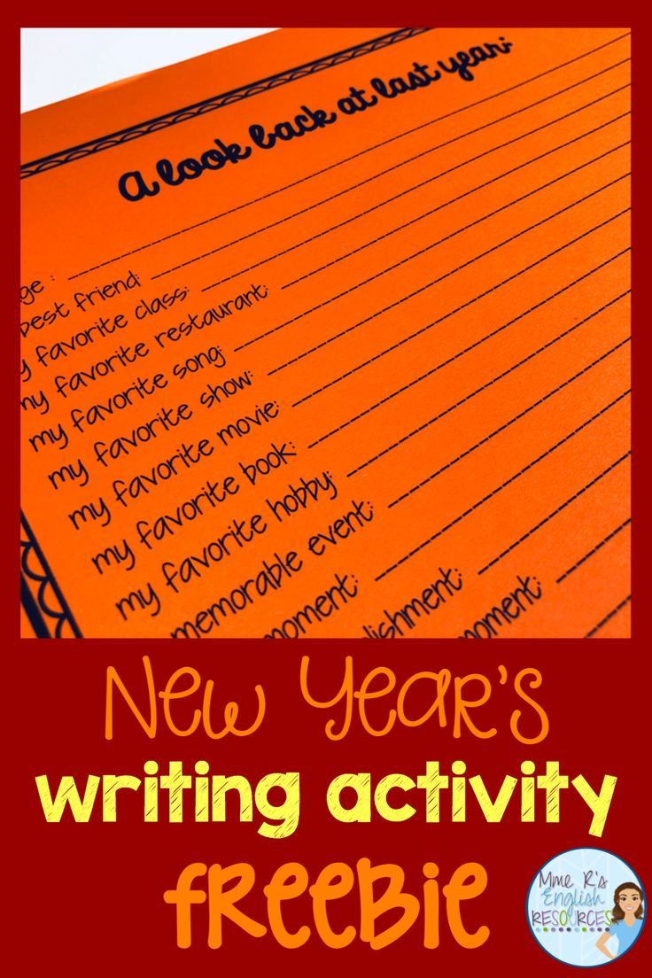 New Year's Resolutions writing activities for 2020