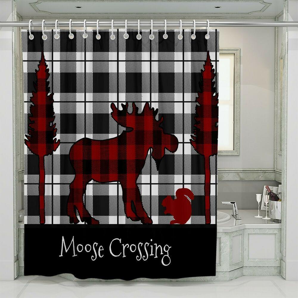 Plaid Moose Rustic Shower Curtain By Folknfunky Folknfunky