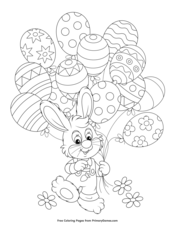 easter bunny with egg balloons coloring page • free printable ebook in 2020 with images