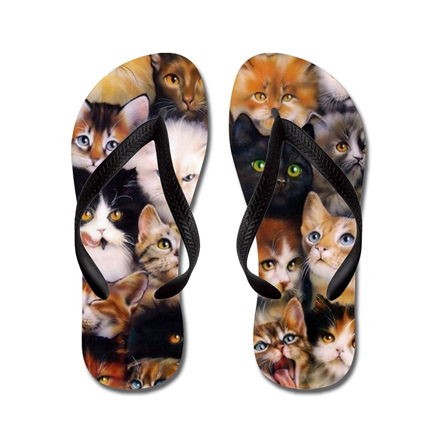 Funny Cute Cats with Big Eyes flip flops Adults S,Blue