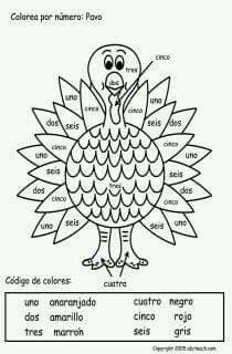 Colorea Por Numero Pavo Spanish Lessons For Kids Preschool Spanish Learning Spanish