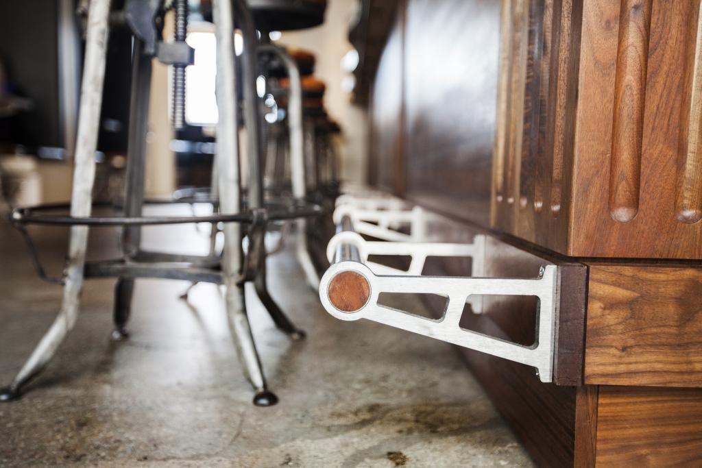 Bar Corner Specially Sourced Locally Harvested California Walnut Hardwood And Custom Foot Rail Add To