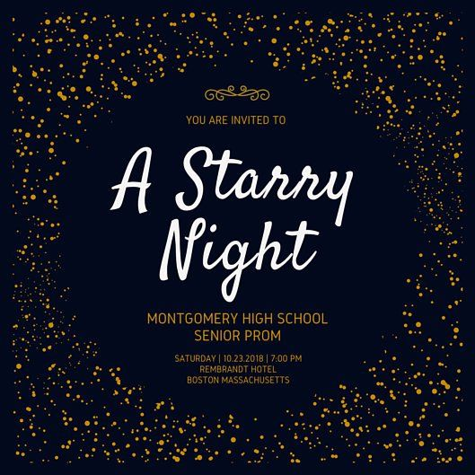Golden Starry Night Prom Invitation Lds Prom