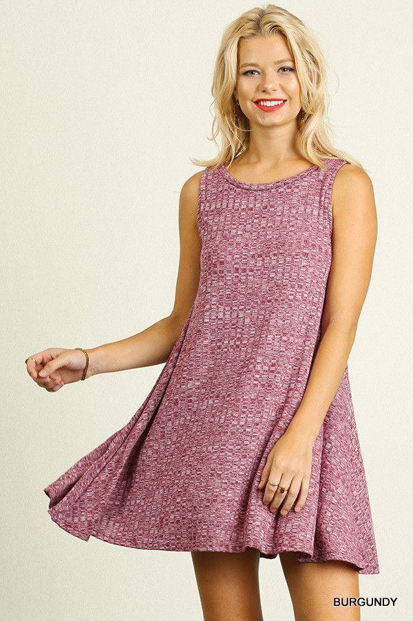 A-Line Knit Dress - Burgundy