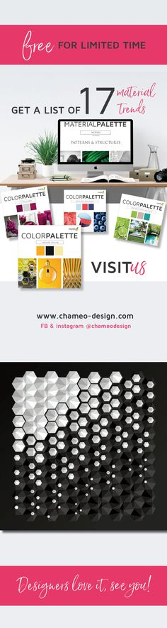 Always curious for the latest trend? Get a list of 17 material trends for free on @chameodesign. Find trends for all other design disciplines as well: Graphic Design, car design, architecture, color design, branding design, logo, textile, innovation and many more!