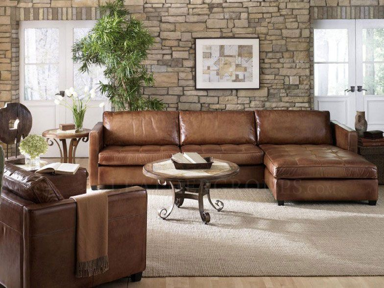Brown leather sectional sofa with chaise ahh finally our new ...