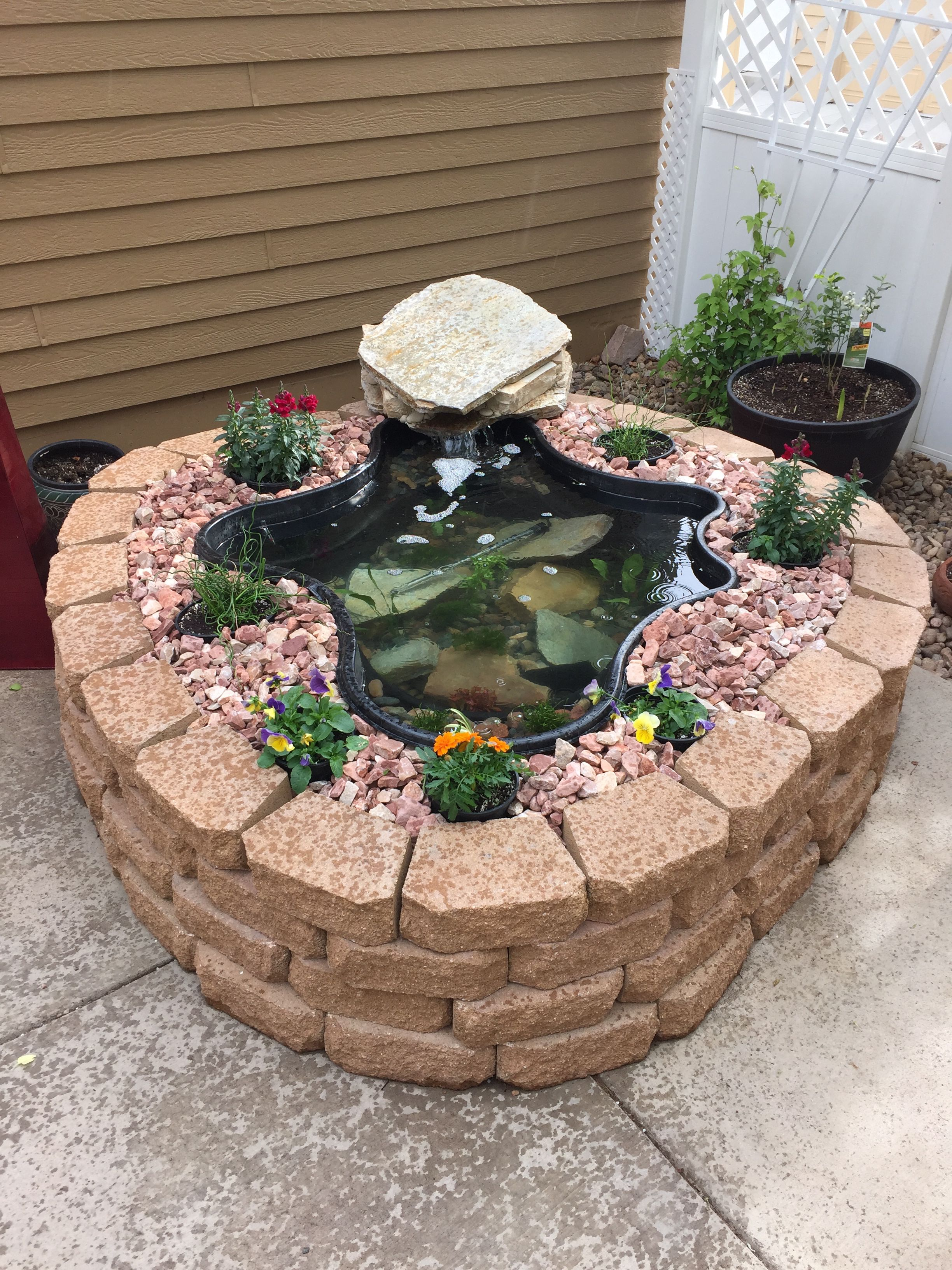 Above ground pond using garden wall blocks patio pond for Small pond landscaping ideas