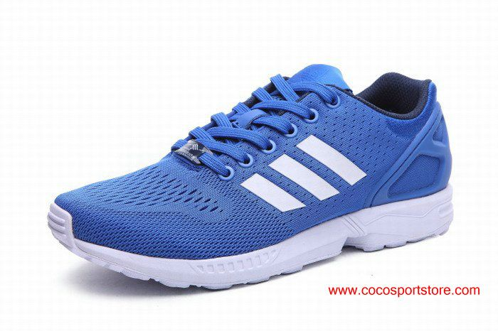 free shipping 38440 d7ddb Adidas ZX Flux Royal Blue White Womens Summer Running Shoes ...