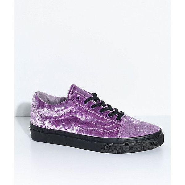 Vans Old Skool Velvet Sea Fog Black Skate Shoes featuring polyvore, women's  fashion, shoes
