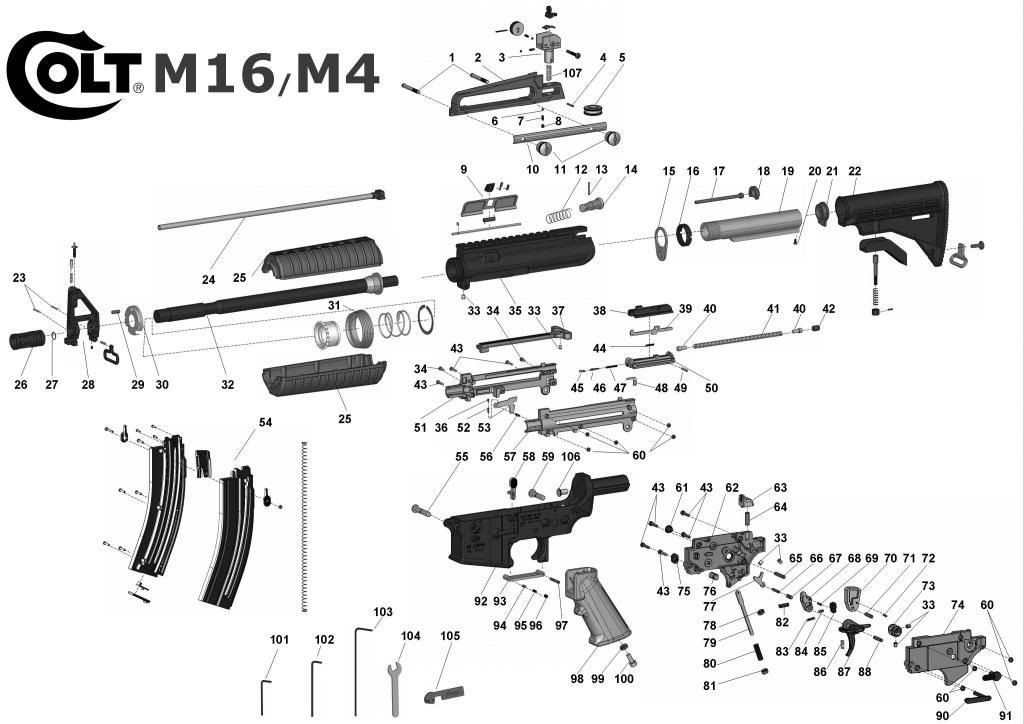 m16 exploded view m16