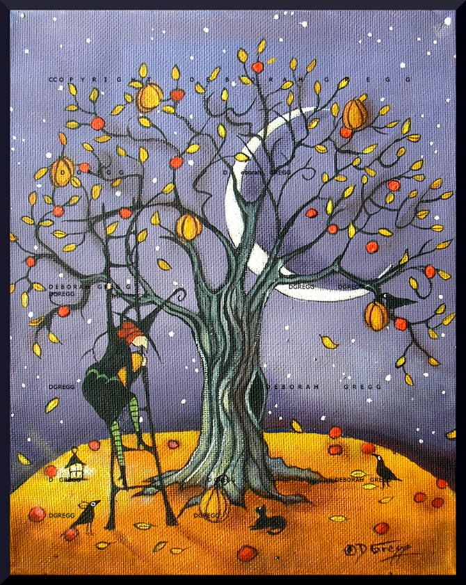 The Pumpkin Tree, a small Witch Crow Pumpkins Moon Autumn