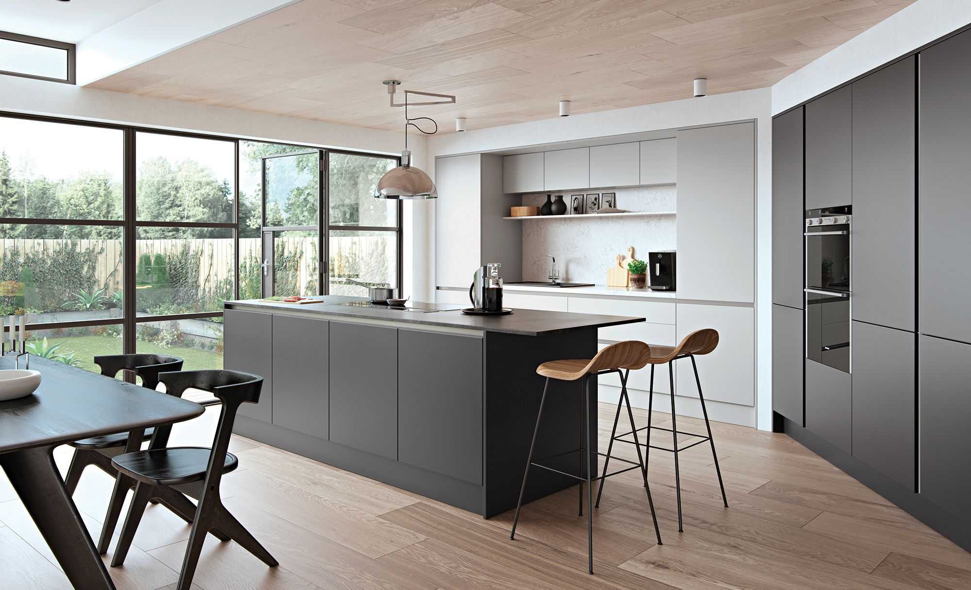 Nice A Striking Contemporary Kitchen Using A Combination Of Light Grey For The  Wall Units And A Contrasting Graphite Shade For The Kitchen Island Unit And  Wall ...