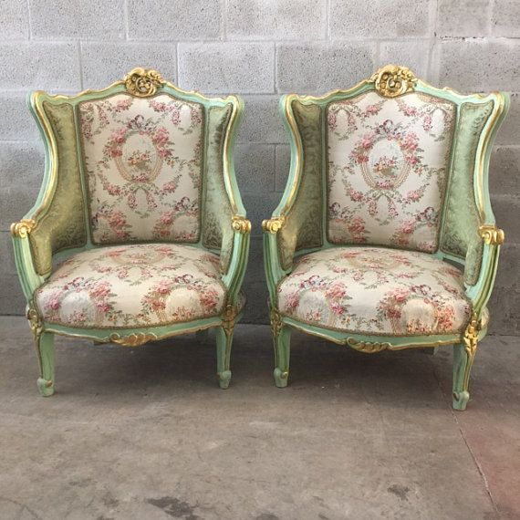 Antique French Louis XVI Sofa Settee Couch Gold Leaf Green