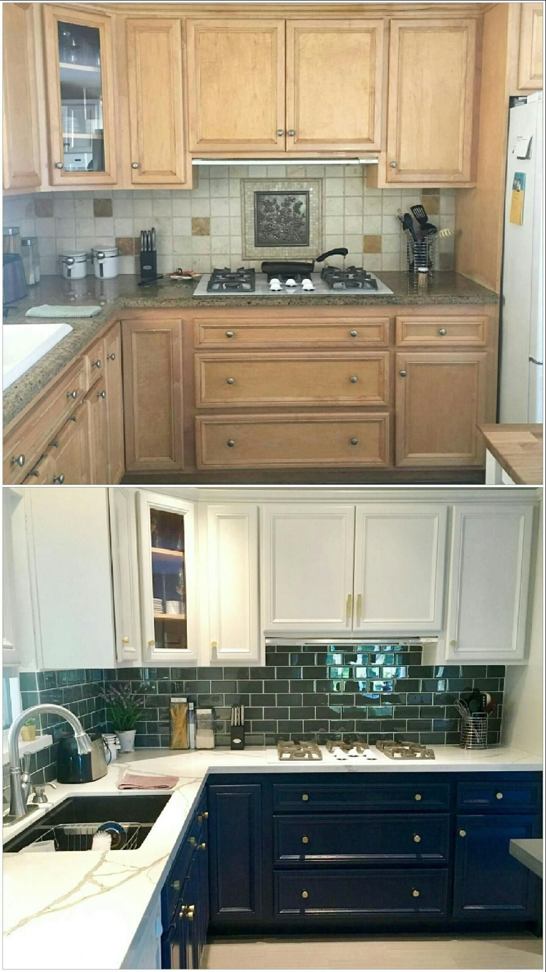 Before and After Mini Kitchen Makeover Painted