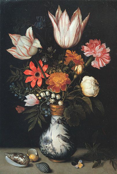 Dutch still-life paintings  This one by Ambrosius Bosschaert the Elder