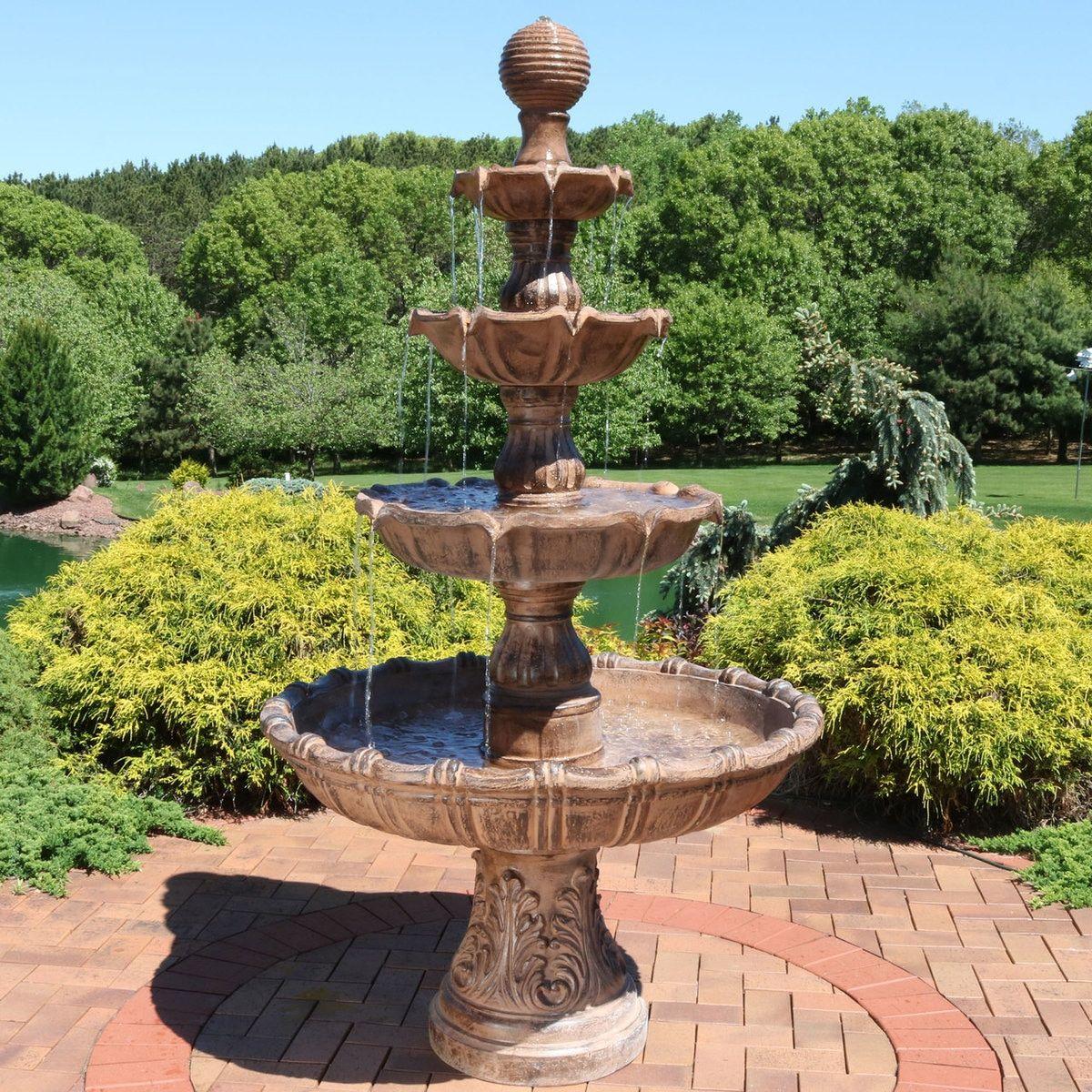 Sunnydaze Large Tiered Ball Outdoor Fountain Garden Water Fountains Fountains Outdoor Water Fountains Outdoor