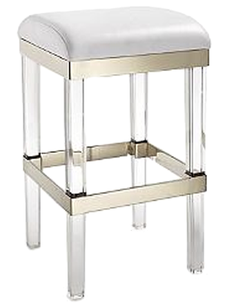 Fulham Acrylic Backless Bar Stool White Leather Backless Bar