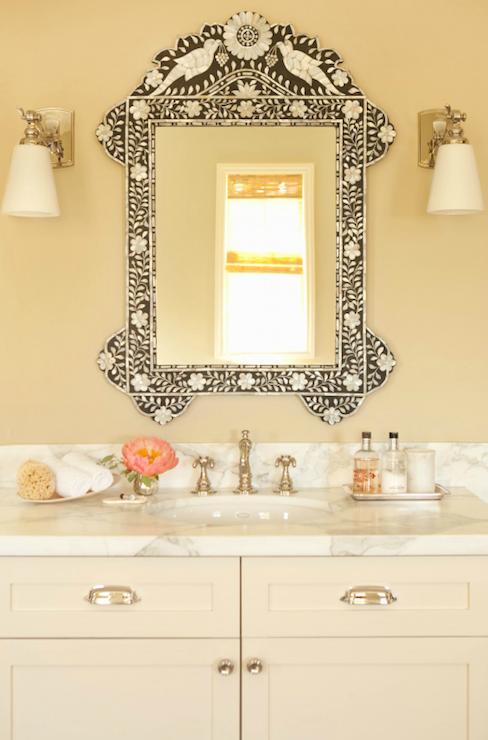Taylor Borsari - bathrooms - cream bathroom, pale yellow walls, pale ...