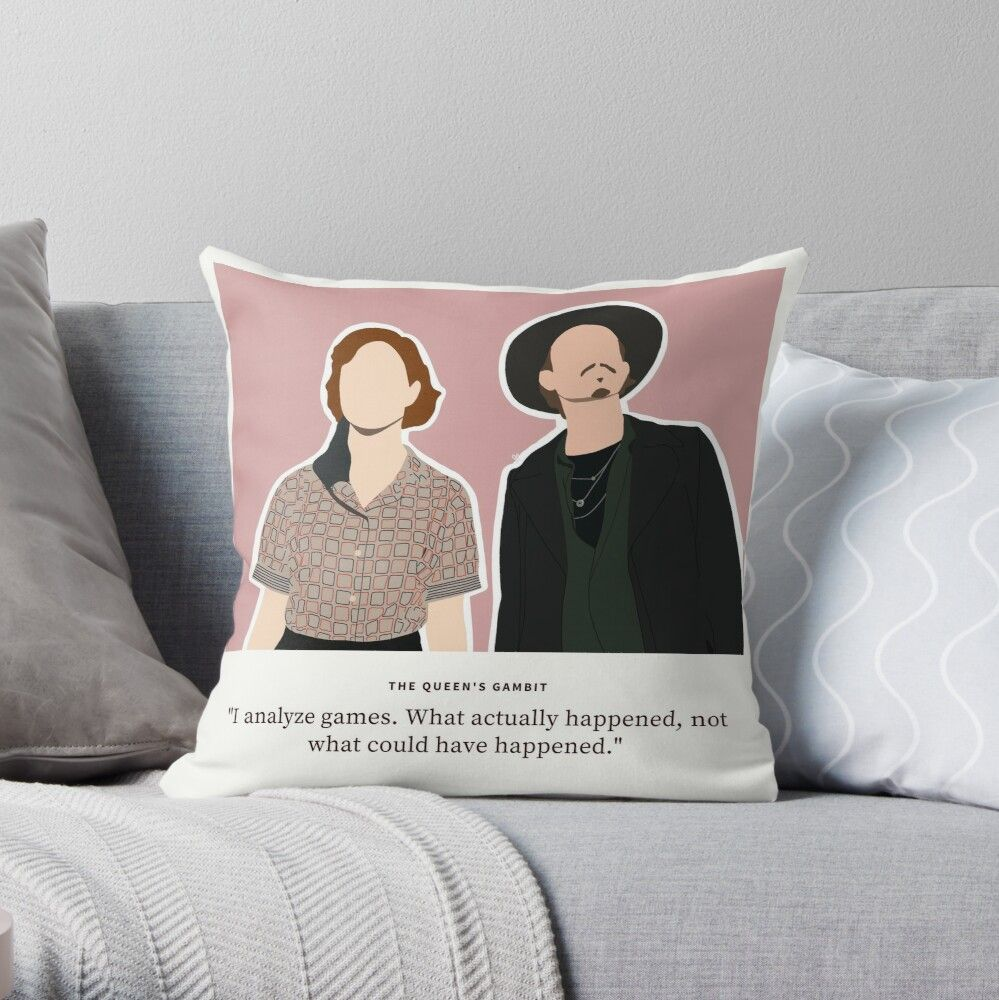 The Queen's Gambit Beth and Benny Love Quote Throw Pillow by jocelapng