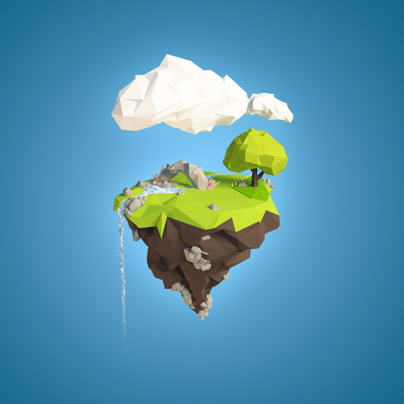 Floating Island 3d Model Floating Island Floating Low Poly Models