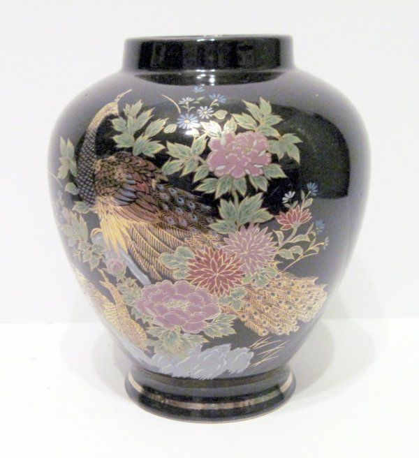 Interpur Japan Vase Black With Gold Peacock Floral