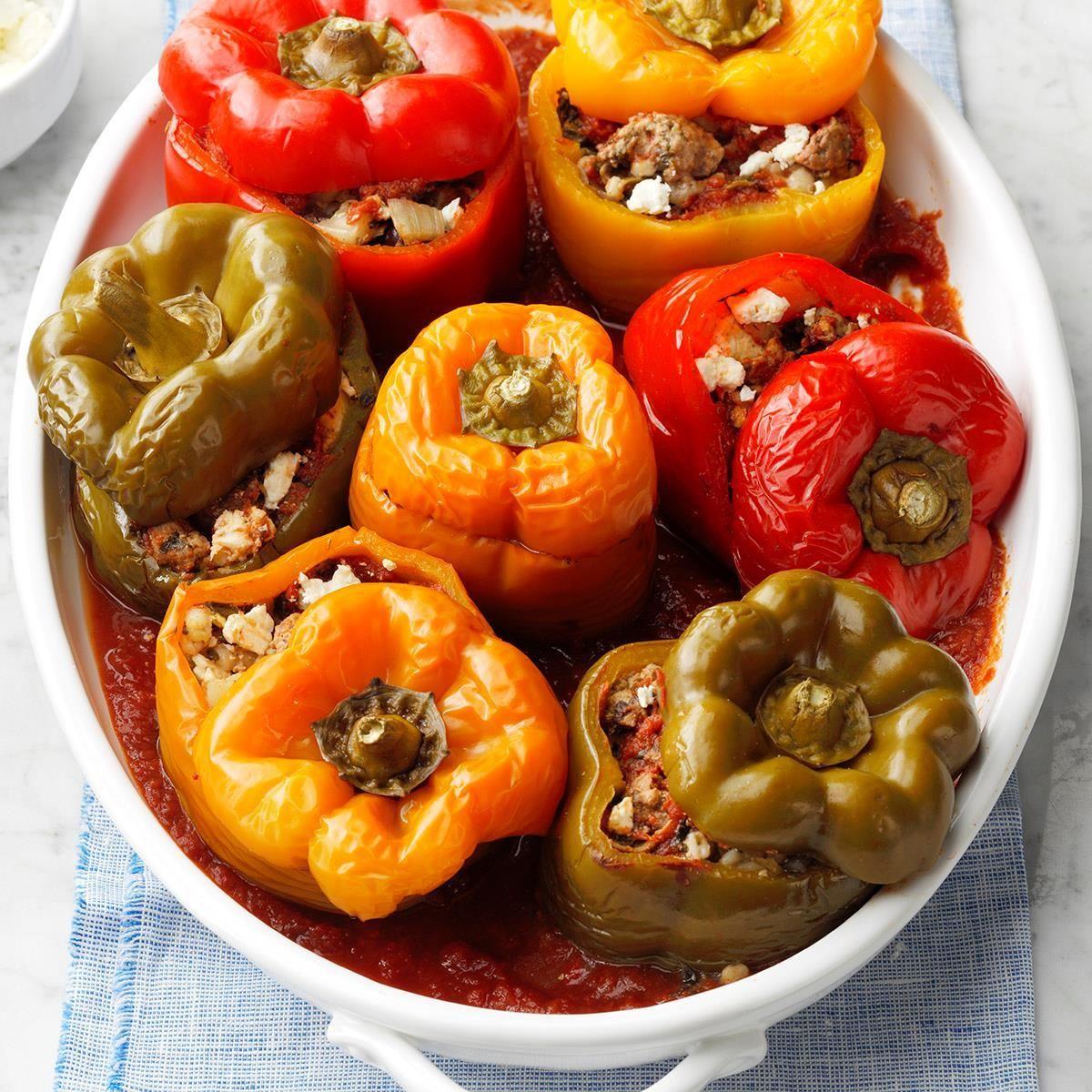 Greek Style Stuffed Peppers Recipe In 2020 Stuffed Peppers Recipes Greek Recipes