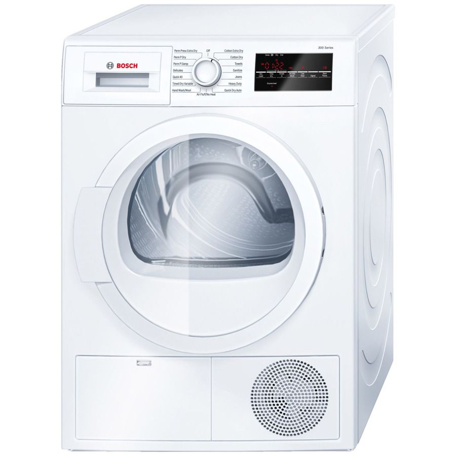 Bosch 300 Series 4 Cu Ft Stackable Ventless Electric Dryer White