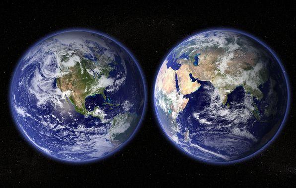 Обои картинки фото планета, земля, материки, океаны